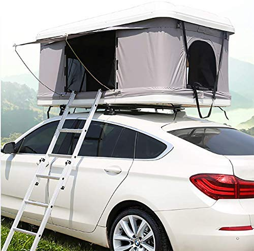 LLSS Automotive Rooftop Tent 2-3 Adults Car Roof Tent Awnings Camping Gear, White Shell + Gray Tent