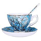 JISHIYU Juego de café Famosa Pintura cerámica de Van Gogh de la Vendimia del Juego de té Servicio platillo Servicio té for Adultos, Hora del té de la Tarde, (Color : A)