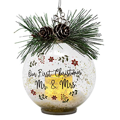 Our First Christmas Married Mr. and Mrs. - Lighted Glass Ball Ornament with Pine Cones and Greenery - Snow Filled Bulb with a Silver Glitter Votive Candle Inside - Dated 2020 Silver Charm Included