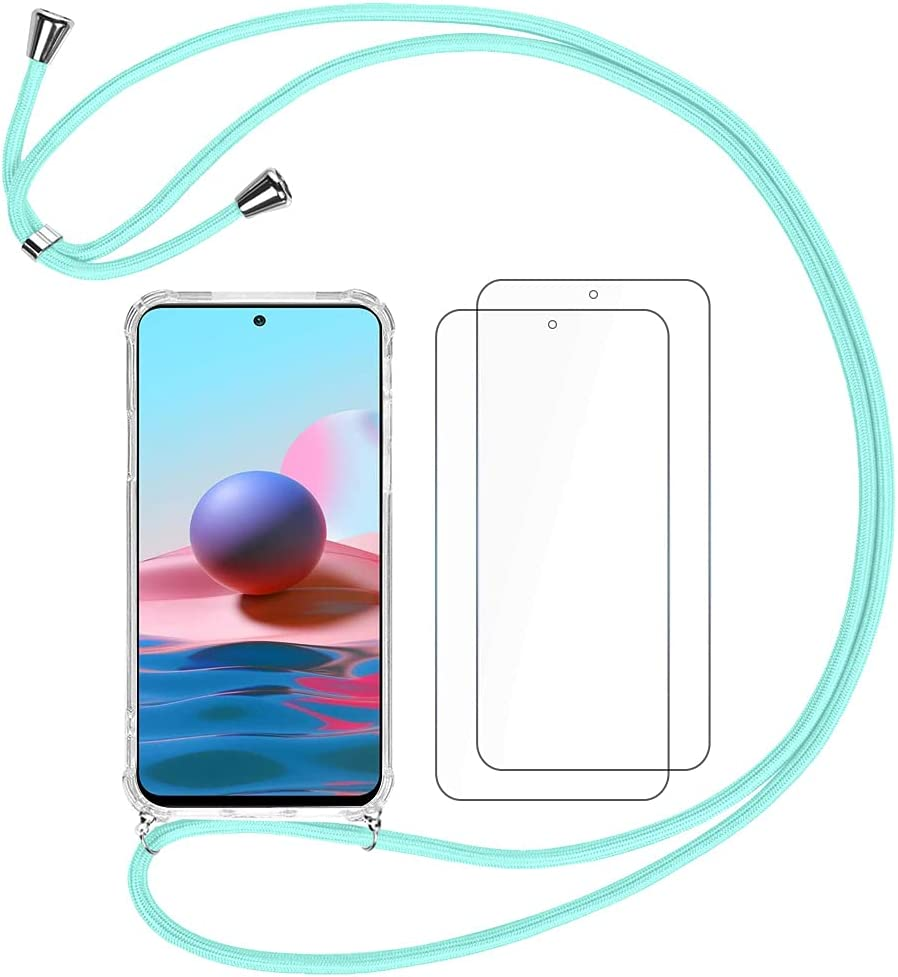 QUIETIP Clear Case Compatible Xiaomi Redmi Note 10/Note 10S,Crossbody Strap Adjustable Neck Lanyard Transparent Shockproof Protective Case,2 x Tempered Glass Screen Protector,Green