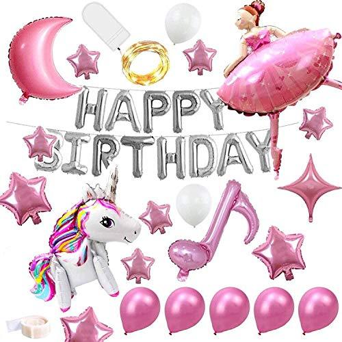 BAIBEI 24Pcs Unicornio Decoraciones Cumpleaños de Fiesta, Feliz Cumpleaños Globos Banner, Globos de Foil TIK-Tok , Artículos de Fiesta de Bailarina de Ballet