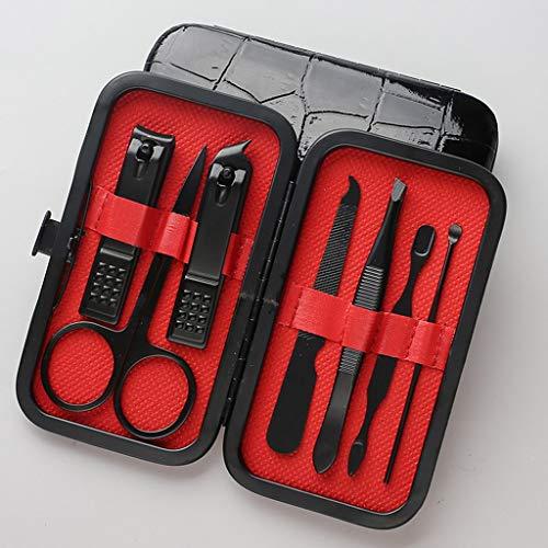 7 Pc zwart roestvrij staal Manicure Set met luxe lederen hoesje - Grooming Kit met zwarte nagel Clippers, pincet, schaar, Cuticle Removers