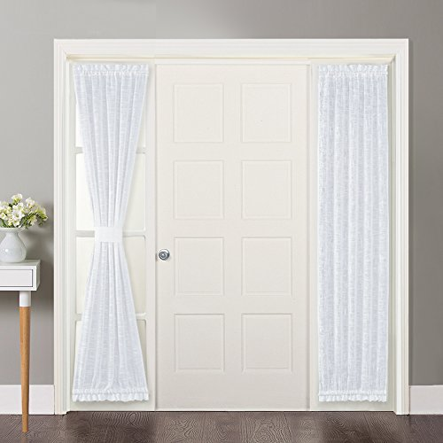 NICETOWN Sidelight Curtains for Front Door - Linen Textured Look Semi Voile Privacy Sidelight Panel Curtains Including Tiebacks, Sold as 2 Pieces, 30 inches Wide x 72 inches Long, White