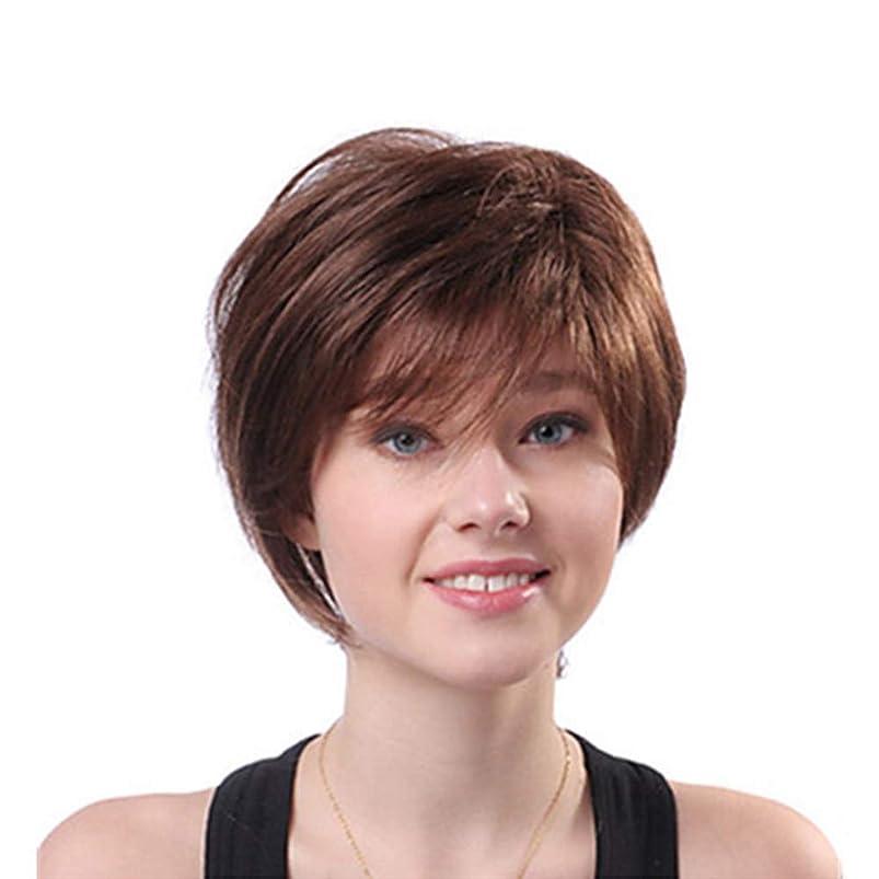 オークランドアーサー上陸Yrattary 女性の茶色のふわふわの短い巻き毛の人工毛耐熱性 (色 : ブラウン)