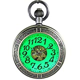 OGLE Waterproof Magnifier Skeleton Chain Silver Luminous Fob Self Winding Automatic Mechanical Pocket Watch (Bronze Luminous)