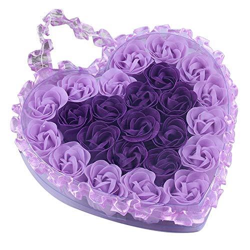 SNOWINSPRING 24Pcs Coeur Parfumé Bain Corps PéTale Rose Fleur Savon Mariage DéCoration Cadeau Saveur Papier Fantaisie Savon Violet