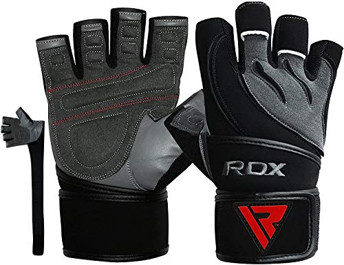 RDX Weight Lifting Gloves for Gym Workout – Cowhide Leather, Long Wrist Support with Anti Slip Palm Protection – Great Grip for Fitness, Bodybuilding, Powerlifting, Strength Training & Exercise