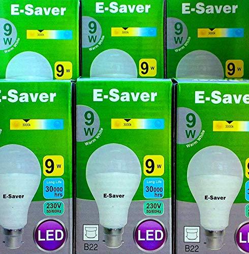 Pack of 6, E-Saver LED 9w = 80 watt, A60 Globe, Warm White 3000k, Bayonet Cap (BC, B22, B22d) 850 Lumen, 90% Energy Saving Light Bulb, Up to 30,000 Hours Life Time