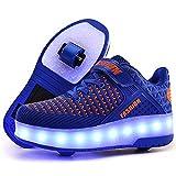 Ali-tone Junge Mädchen Schuhe Kinderschuhe mit Rollen LED Leuchtend Doppelrad schuheltraleicht Outdoor Schuhe 7 Farbe Farbwechsel Rädern Gymnastik Sneaker