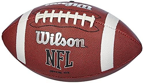 Wilson, Palla da football americano, NFL Bulk, Pelle composita, Nero, Per giocatori amatoriali, Dimensioni ufficiali, WTF1858XB