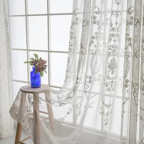 Amidoudou 2er-Set Vorhänge Beige Transparent Tüllvorhänge Für Wohnzimmer Schlafzimmer Bestickte Tüllvorhänge Im Europäischen Stil (Beige,230x140 cm)