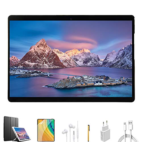 Tablette Tactile 10 Pouces 4G, 64Go de Mémoire et 4Go de RAM 8-cœurs Dual SIM/ WiFi,GPS,Bluetooth,OTG,Netflix VOUKOU Noir