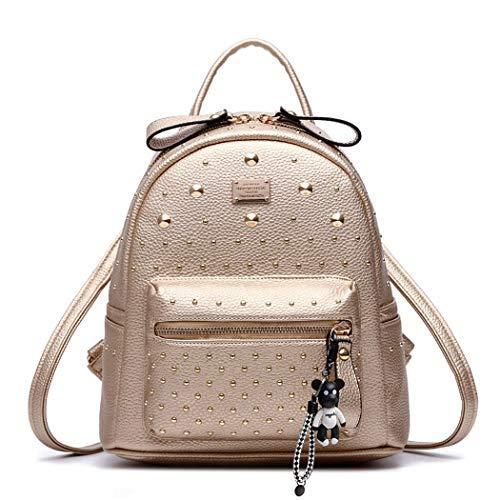 DEERWORD Damen Rucksackhandtaschen Schultertaschen Schulrucksack Tagesrucksack Laptoptasche Leder Gold