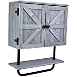 Excello Global Products Barndoor Bathroom Wall Cabinet, Space Saver Storage Cabinet Kitchen Medicine Cabinet with Adjustable Shelf and Towel Bar, Rustic Gray