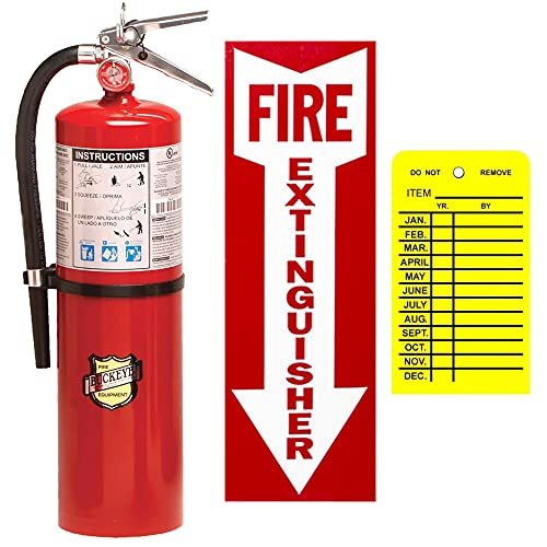 ABC Fire Extinguisher 10Lb Commercial Class ABC Dry Chemical Buckeye with Wall Hook, Sign And Plastic Inspection Tag