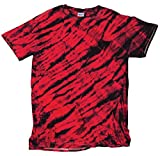 Faded Tiger Stripe All-Over Design Unisex Adult Tie Dye T-Shirt Tee, X-large,black Red, X-Large,Black Red