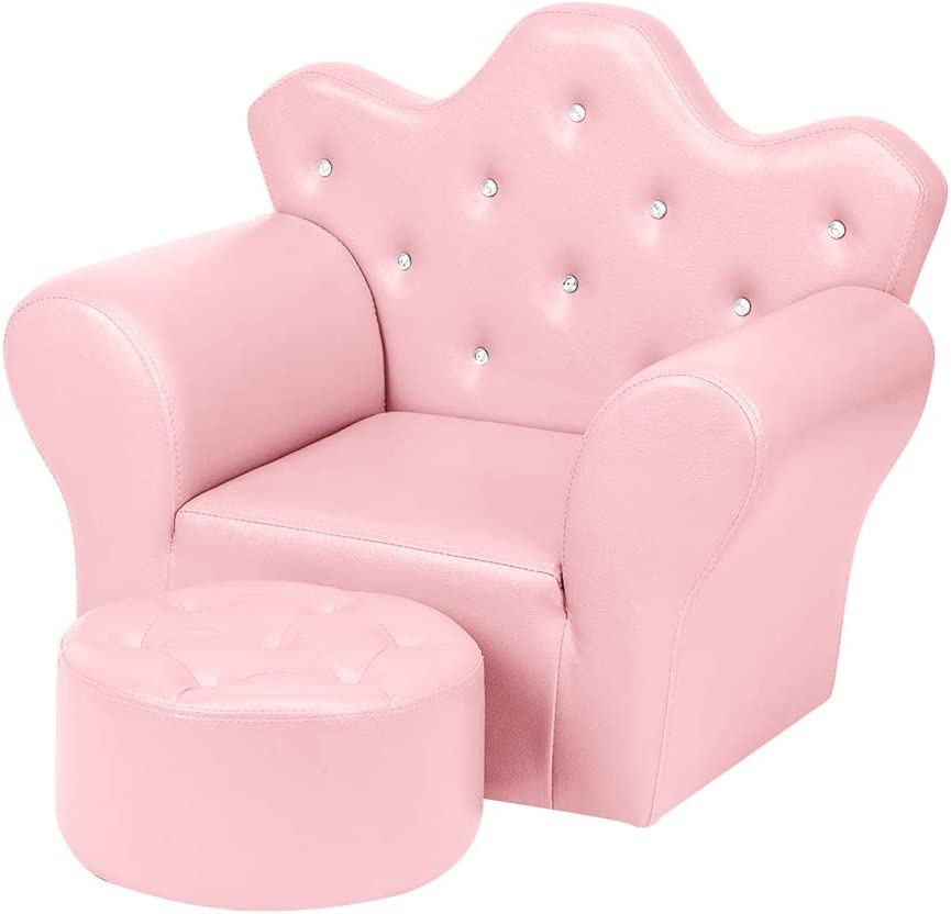 Sales results No. Free shipping anywhere in the nation 1 Kids Sofa PVC Leather Princess Embedded Upho Crystal with