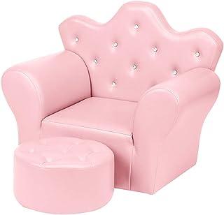 Fauteuil Enfants avec Pouf, Canapé pour Enfants en Cuir PU, canapé Simple pour Enfants, Chaise pour Tout-Petits Meubles po...