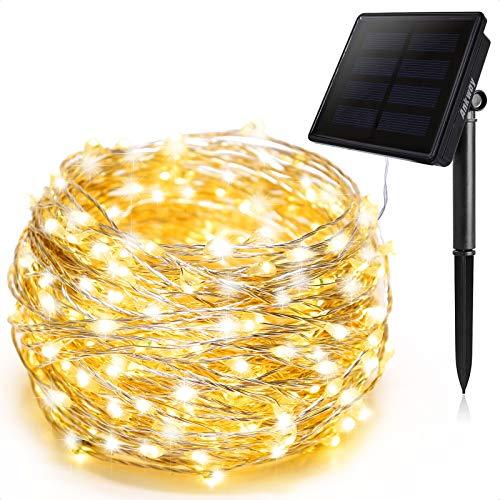 Ankway Cadena Luces Solares 8 Modes 12M 100 LED, Luces led Solar con Alambre de Cobre Duradero, IP65 Sensor de Luz Impermeable para Hogar Jardín Exterior Patio Valla Ventana Fiesta,Blanco cálido