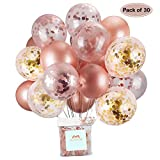AUSYDE Palloncini in Oro Rosa e coriandoli Palloncini in Lattice Glitterato 30,5 cm per Baby Shower Addio al Nubilato Decorazioni per Feste di Compleanno 30 Pezzi.