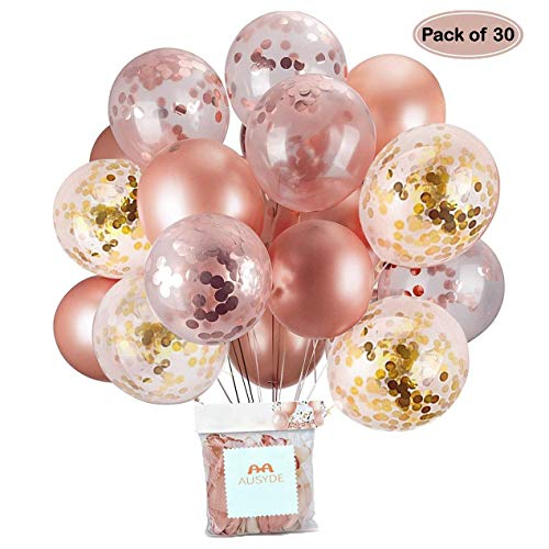 AUSYDE Globos de Confeti de Oro Rosa Globos de Fiesta 30,5 cm Globos de látex Brillo para Ducha Nupcial Fiesta de cumpleaños Decoraciones de la Boda (30 Piezas)