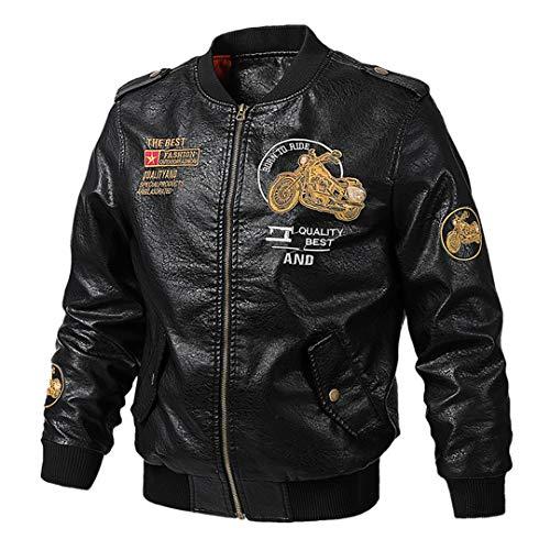 H-MetHlonsy Retro stilvolle Mantel-Winddichtes Motorradjacke PU-Leder-Reitjacke Lederjacke Biker Kleidung ZTL 0301 Black L