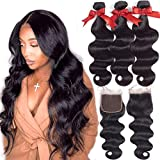 Fashion Queen Body Wave Bundles With Closure(16 18 20+16inch) 8A Brazilian Virgin Human Hair Bundles With 4X4 Free Part Closure 100% Unprocessed Natural Color Human Hair for Black Women
