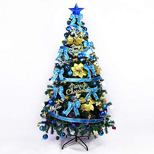 HX Easy Assembly Arbre De Noël Artificiel, 180 5,9 Ft Grand Vert Articulé en Métal Solide Jambes Arbre De Noël Luxueux avec Décoration pour L'hôtel Mall,Blue