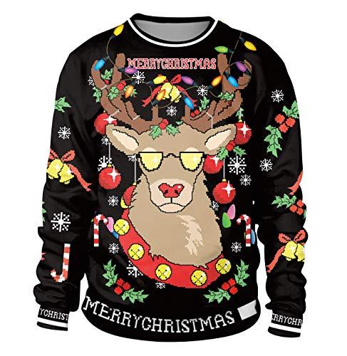 Sudadera Navidad Estampadas Sudaderas Navideñas Unisex Jersey Sueter Navideño Hombre Mujer Reno Sweaters Pullover Cuello Redondo Largas Chica Anchas Deportivas Invierno Camisetas Personalizadas M