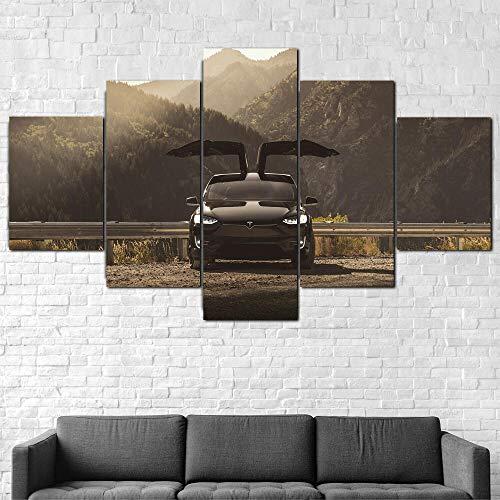 Lienzo impreso sobre lienzo, 5 piezas de arte eléctrico para pared de coche, 150 x 80 cm