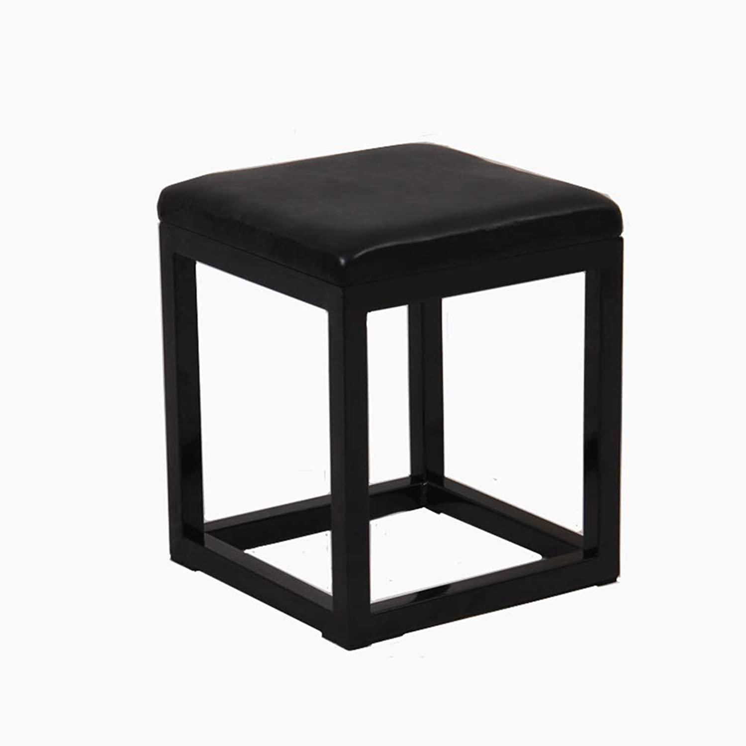 AGLZWY Stool Iron Art Dressing Stool Change shoes Bench Simple Square Stool, 2 colors, 2 Size (color   Black, Size   35X30X45CM)