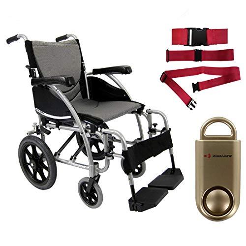 Karman S-Ergo 115 Ultra Lightweight Ergonomic Transport Wheelchair, Fixed Wheel, 18' Seat Width in Silver & Free 130 dB Gold Safety Alarm! + Red Belt!