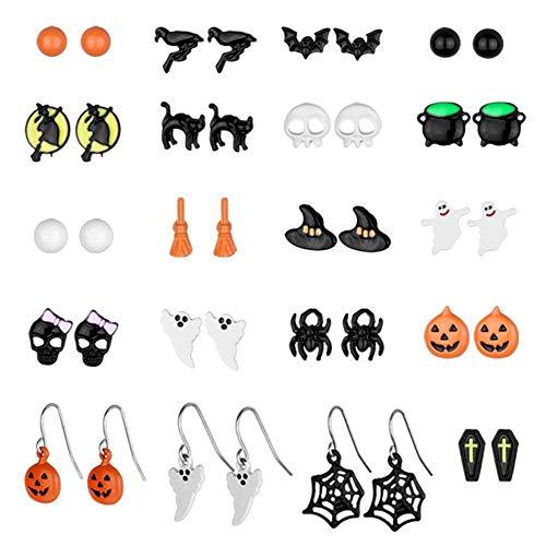 20 Pairs Halloween Stud Earring Sets Halloween Cosplay Costumer Jewelry Drop Dangle Hoop Stud Earrings Spider Web Pumpkin Ghost Bat Earring