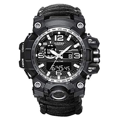 Reloj de Pulsera de Supervivencia Reloj Digital Militar de Emergencia Digital para Deportes al Aire Libre con Cuerda, Silbato, brújula, iniciador de Fuego, para Senderismo, Acampada, Aventura (Black)