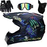 Casco de motocross para niños y adultos, profesional para motocross Dirt Bike con gafas de protección, guantes Offroad, protección facial