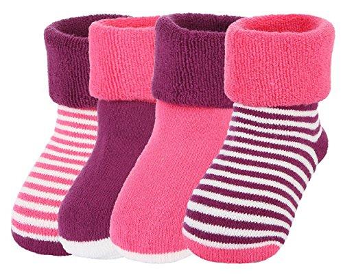 Y-BOA Lot 4 Paires Chaussette Sock Socquette Rayure Pois Bébé Coton Enfant Fille Garçon Souple Chaude Rose 1-3ans