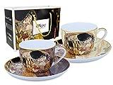 Carmani - Gustav Klimt 'The Kiss ' Set di 2 tazze in porcellana con piattino, 250 ml