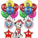 smileh Decoración Cumpleaños Patrulla Canina Globos 25PCS Cumpleaños Aluminio Globos de Paw Dog Patrol para Niños Decoraciones de Fiesta