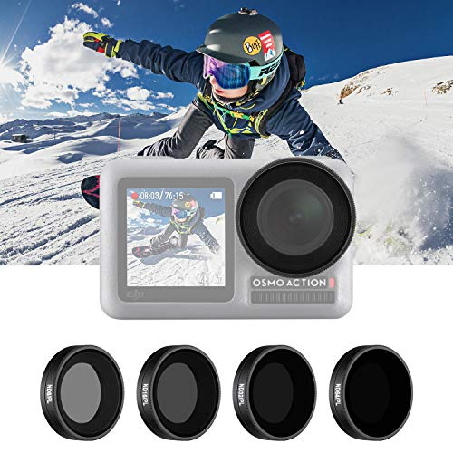 Neewer 4-Pack Filter Set Compatible with DJI Osmo Action, Includes ND8/PL, ND16/PL, ND32/PL, ND64/PL Filter, Direct Thread in Installation, Waterproof and Oil-Proof for Outdoor Sports (Black)