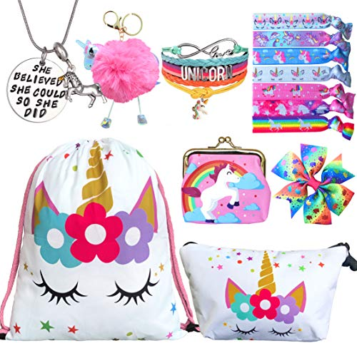8 PCS Unicorn Gifts for Girls – Unicorn Bags Bracelet Necklace Stickers Keychain Hair Ties (White Star 3)