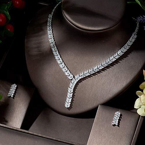 AMINIY Hermosa Hoja de diseño Pendientes y Collar Juego de joyería Cubic Zirconia Joyería Nupcial Boda (Color : Platinum Plated)
