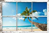 Empire 610010 Beaches - Window - Scenic View - Beach Poster Foto Strand Palmen Meer Paradies, 91.5 x 61 cm