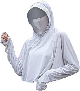 Sun Hoodie UV Protection - UPF 50+ Sun-Proof Clothing w/Ear Hoop Mask, Gift for Women, Girl, Running, Cycling, Fishing