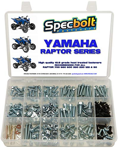 250pc Specbolt Yamaha Raptor 600 660 700 Bolt Kit for Maintenance & Restoration OEM Spec Fasteners ATV Quad Also Good for 80 90 125 250 350