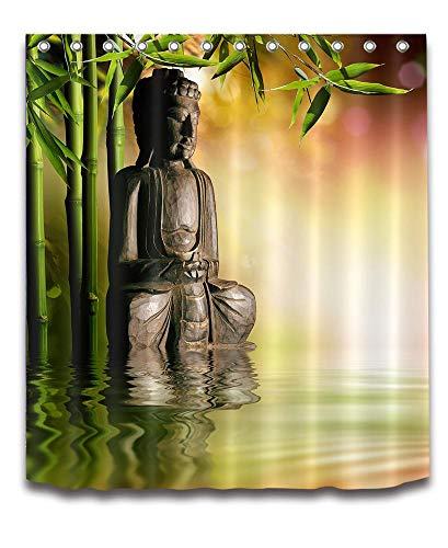 Spa,Bambus,asiatischer Buddha,Zen_Dekor Duschvorhang für Badezimmer 59W x71H Wasserdicht Polyester Stoff Bad Vorhang