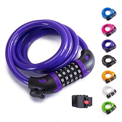 XZSUN Bike Lock Bicycle Lock Chain ,5-Digit Combination Lock Core Steel Wire Bike Lock Security&Portable Bicycle Locks,4 Feet x 1/2 inch (Purple)