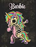Barbie: Personalized Dabbing Unicorn Sketchbook & Notebook with pink name | Best Birthday Gift for Barbie |8.5x11 Size & 100 Sketchbook pages + 50 Wide Ruled Composition Notebook pages