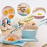 Lqfcjnb Set de Cacerola de 2 Piezas Nonstick Stewpan Tapa y Cuchara para bebé, Pan de 7 Pulgadas de Leche, Alimentos saludables (Color : Blue)