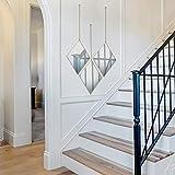 PARNOO - Espejo de pared con cadena y marco de oro rosa con diseño de diamante de 9,5 x 12 pulgadas, espejo colgante decorativo para recámara, sala de estar