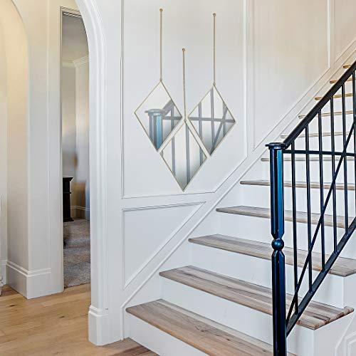 Parnoo Espejo de pared con cadena y marco de oro rosa de 9.5 pulgadas por 12 pulgadas | Espejo colgante decorativo para dormitorio, sala de estar